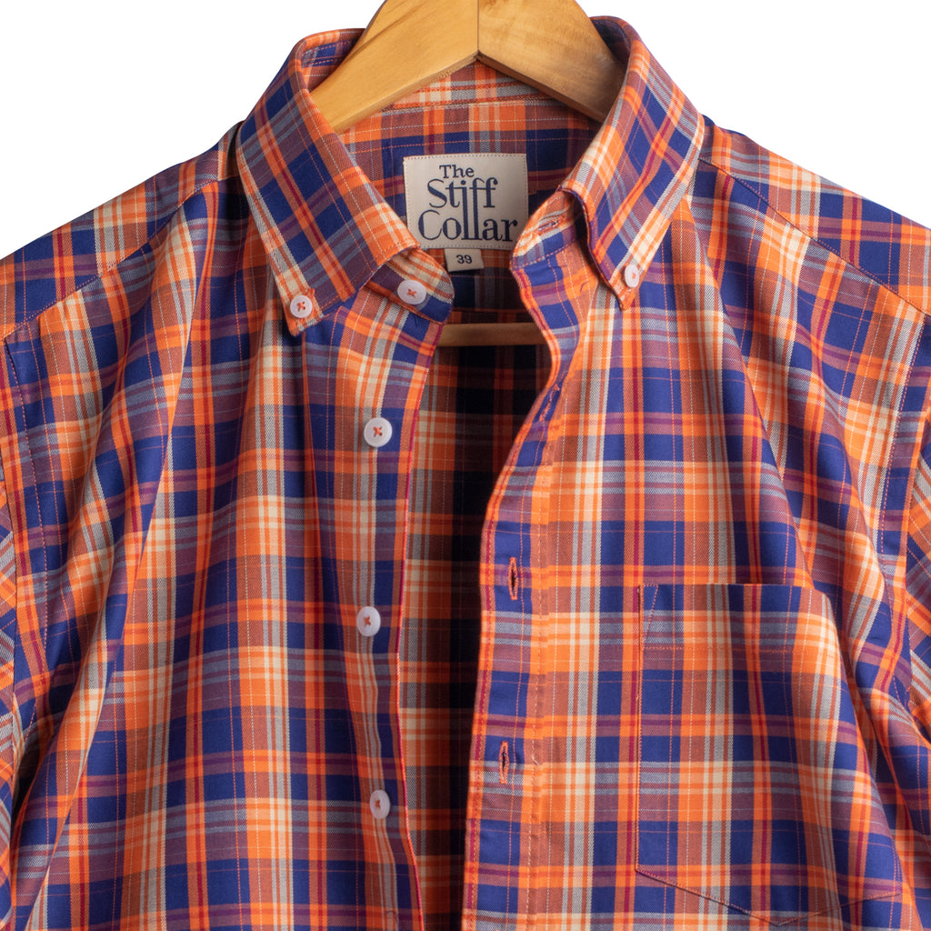 Orange blue checks shirt