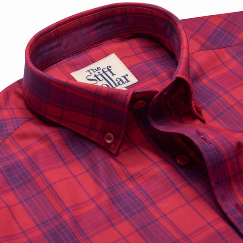 Maroon Tartan Checks Button Down Shirt