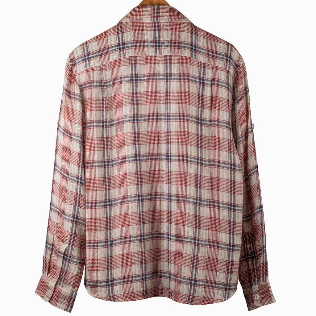 Luxurious Ecru Red Plaid Over Shirt