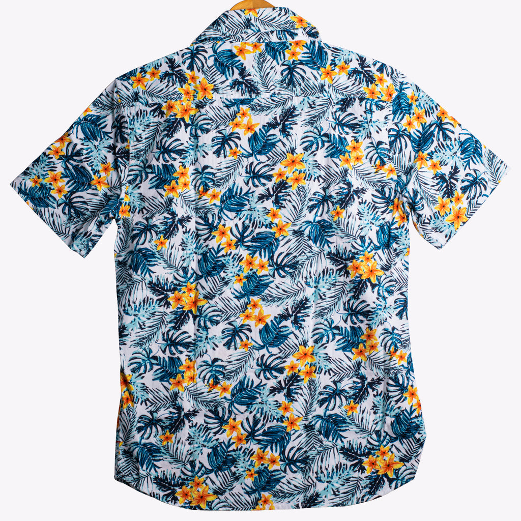 Bright Floral Hawaiian Print Half Sleeves Casual Shirt