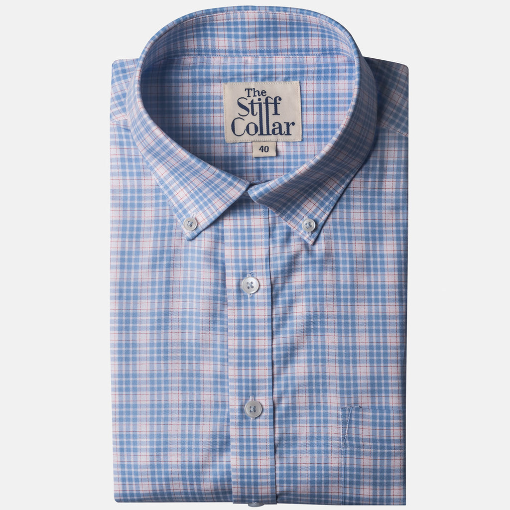 Turquoise Blue Outlined Gingham Button Down Shirt