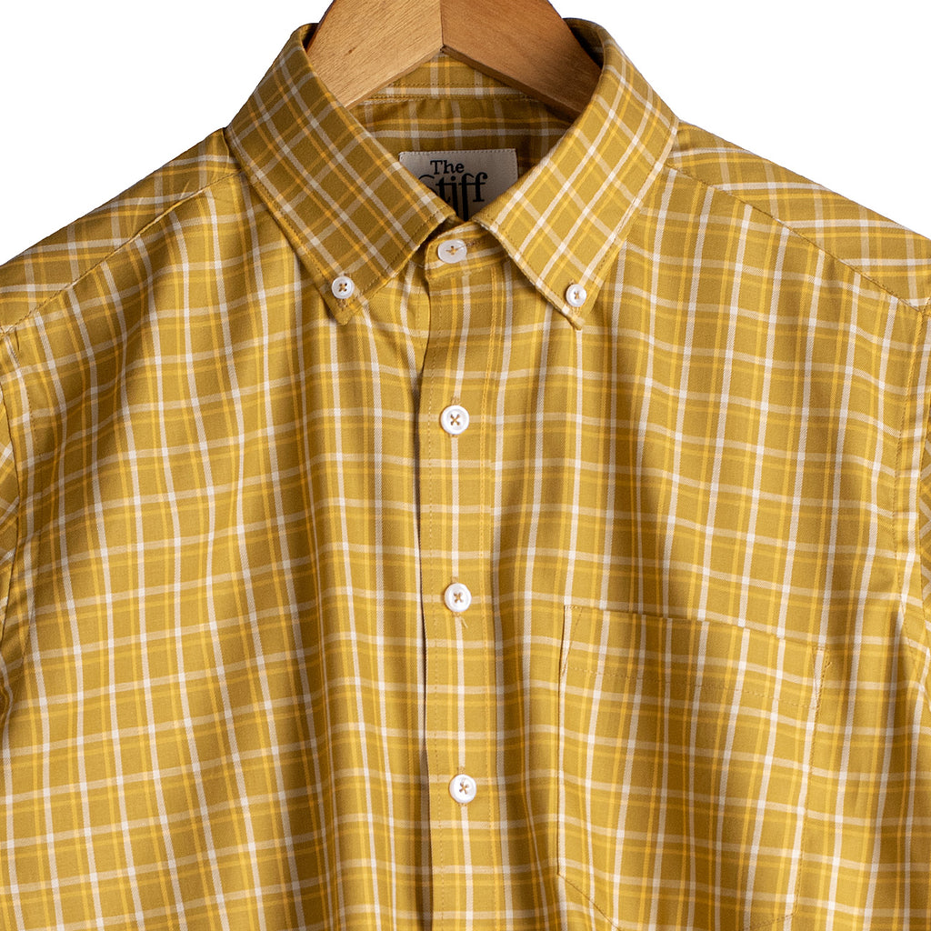 Mustard Yellow Tartan Checks Button Down Shirt