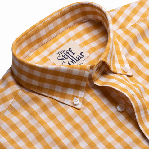 Lemon Yellow Gingham Regular Fit Giza Cotton Shirt