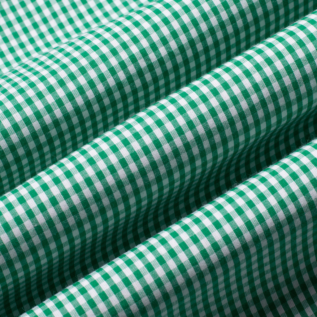 Bottle Green Gingham Button Down Giza Cotton Shirt
