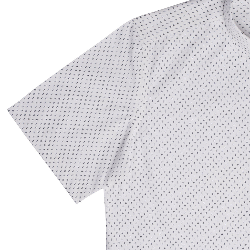 White Wrinkle Resistant Anchor Print Half Sleeves Shirt