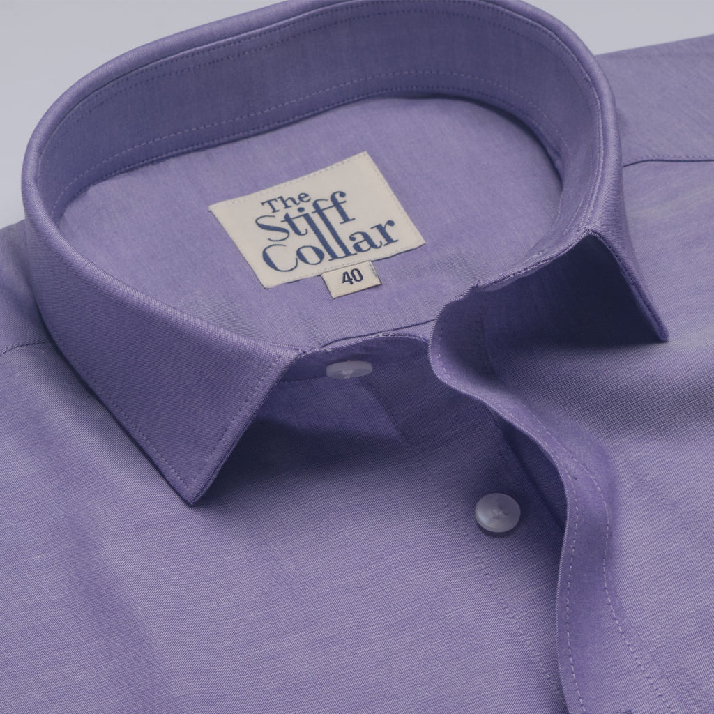 Orchid Purple Oxford Chambray Regular Fit Shirt