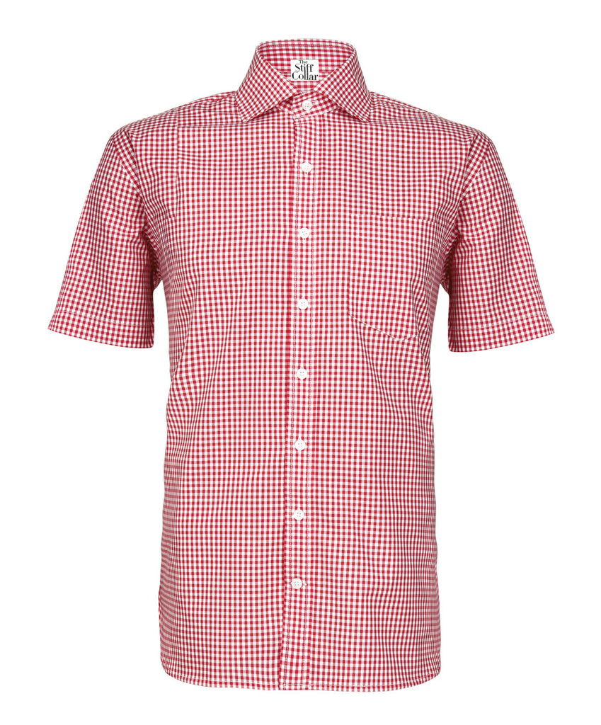 Red Gingham Half Sleeves Cotton Shirt