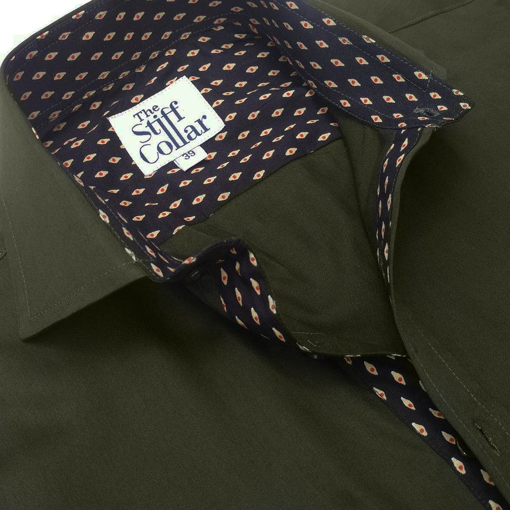 Olive Green Satin Sanganer Art Regular Fit Shirt