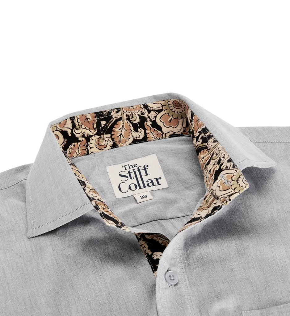 Grey Chambray Kalamkari Art Cotton Shirt