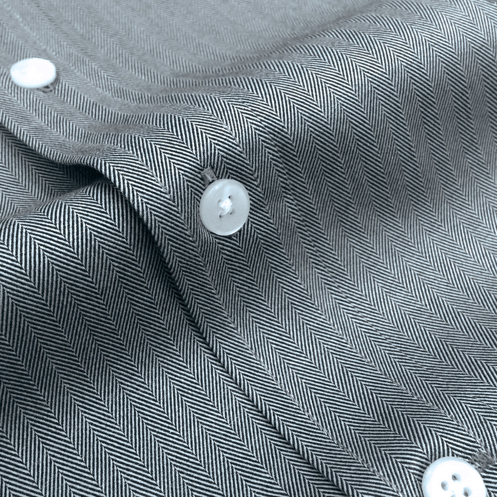 Grey Herringbone Button Down Shirt
