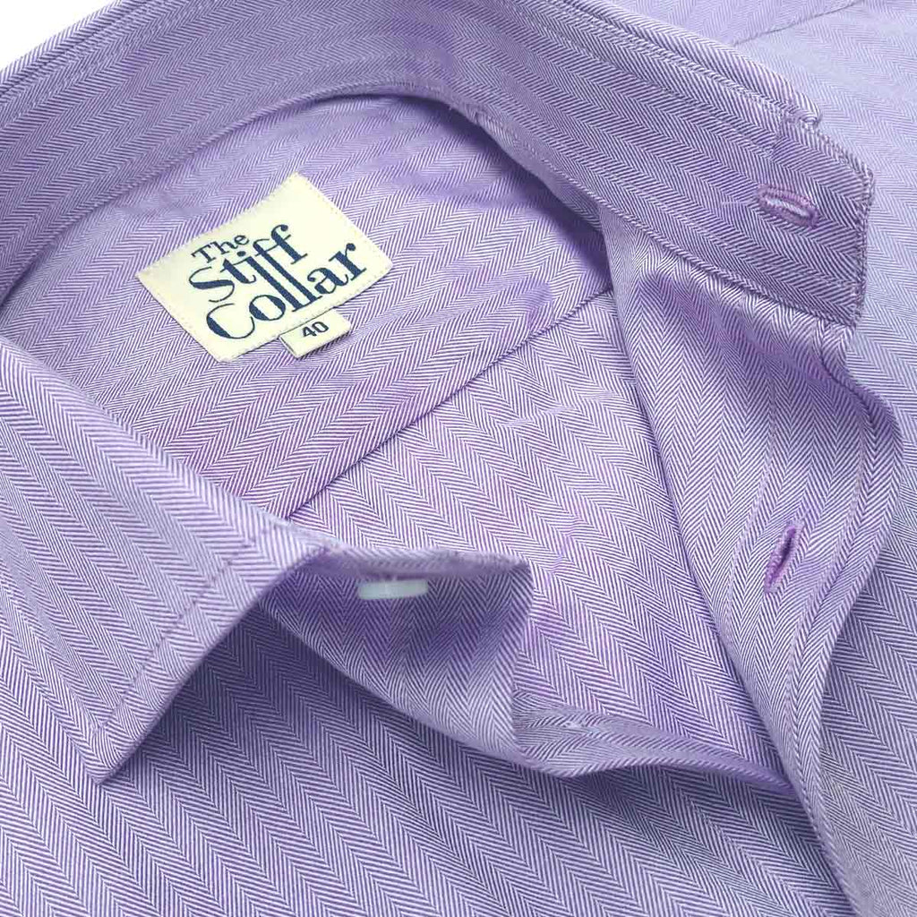 Lavender Herringbone 2 Ply Premium Giza Cotton Regular Fit Shirt