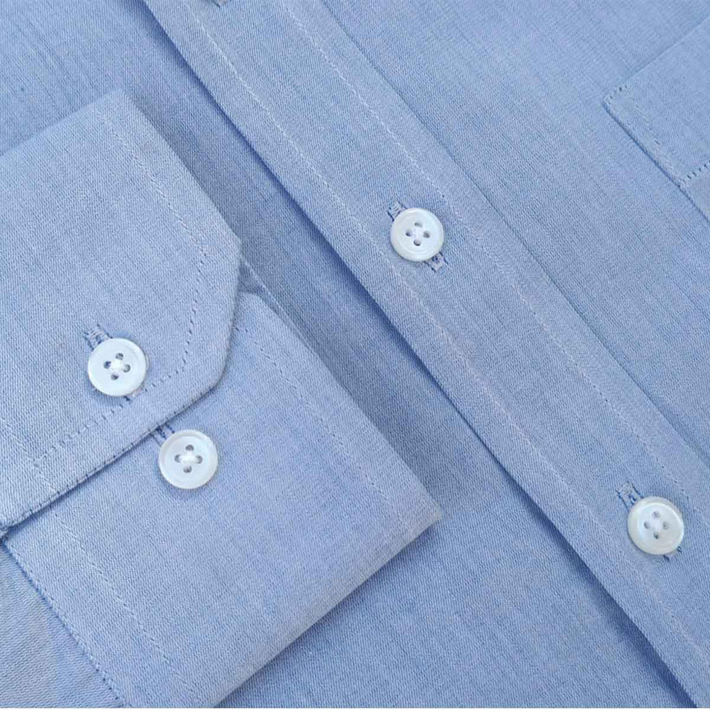 Blue Chambray Nehru Collar Shirt