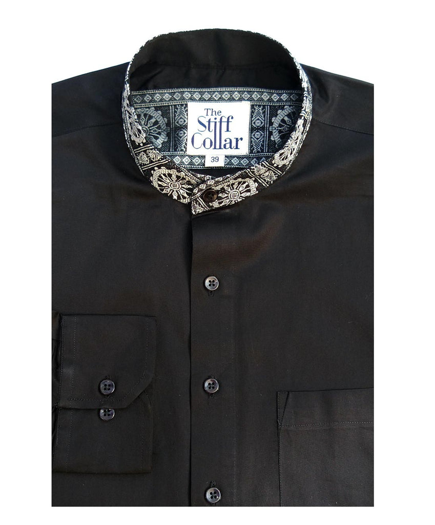 Konark Chakra Black Satin Nehru Collar Shirt