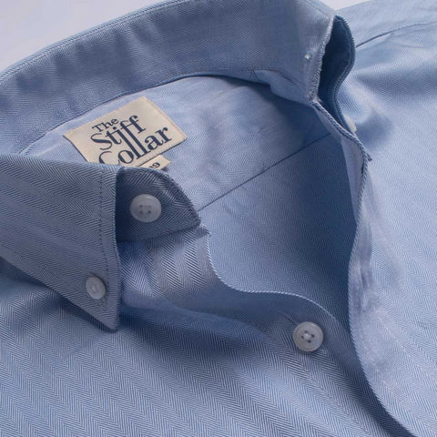 Navy Blue Square Print Cotton Button Down Collar Shirt