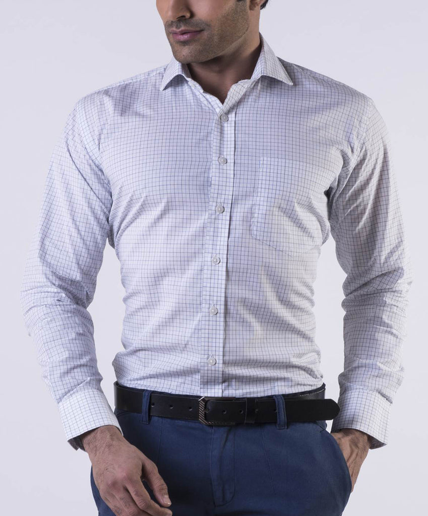 Grey Blue Tattersall Checks Cotton Shirt