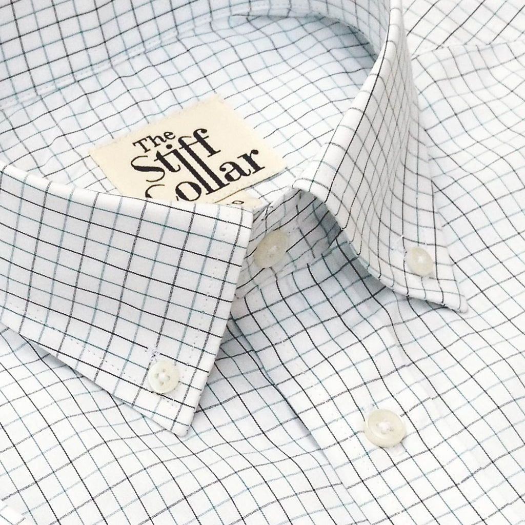 Grey Blue Tattersall Checks Button Down Cotton Shirt