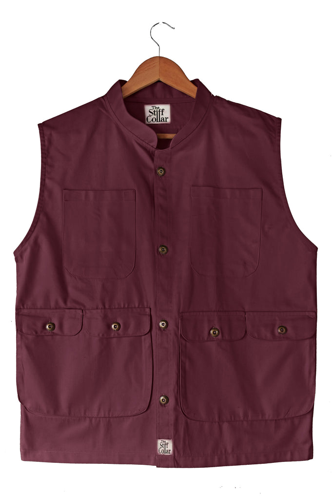 Cotton Sleeveless Waistcoat Vest Maroon Red