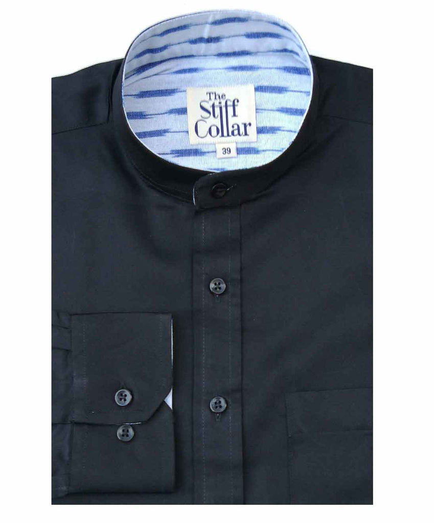 Black Satin Ikkat Nehru Collar Shirt