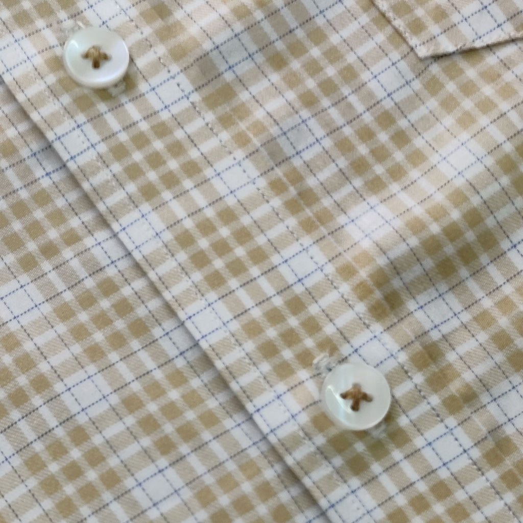 Camel Brown Outlined Gingham Button Down Shirt