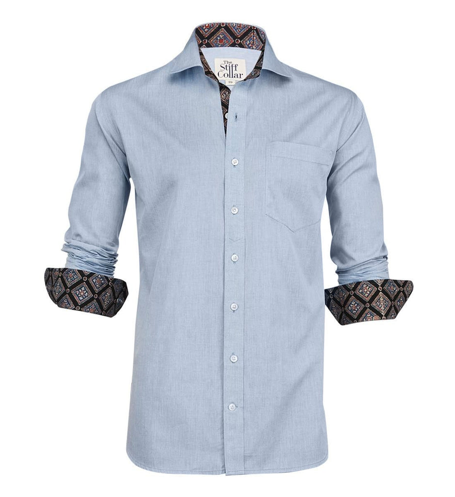 Blue Chambray Kutchi Ajrakh Regular Fit Cotton Shirt