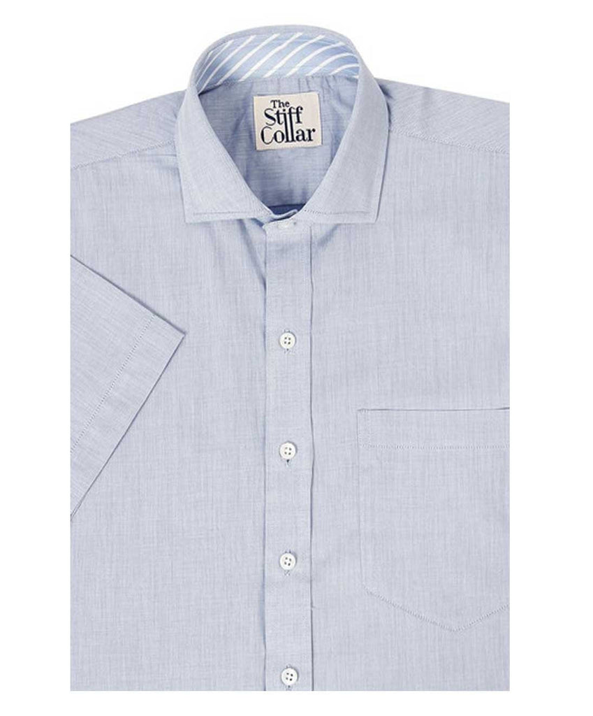Light Blue Chambray Cotton Half Sleeves Shirt