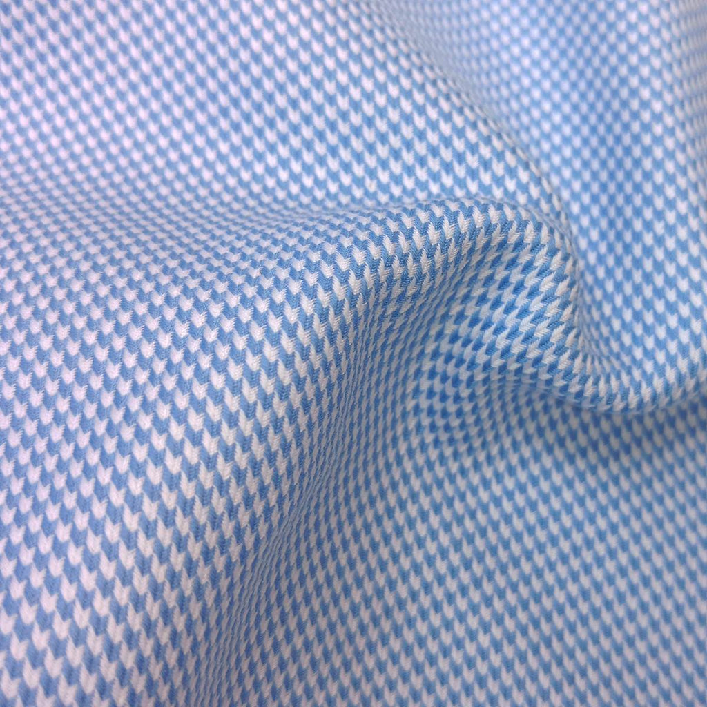Blue Houndstooth 2 Ply Premium Giza Cotton Button Down Shirt
