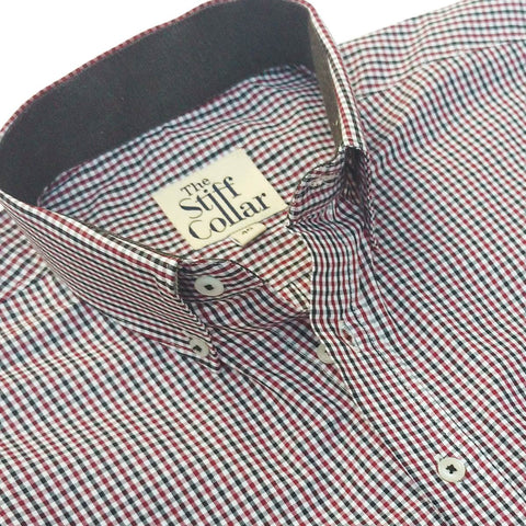 Burgundy Blue Houndstooth 2 Ply Premium Giza Cotton Regular Fit Button Down Shirt Combo