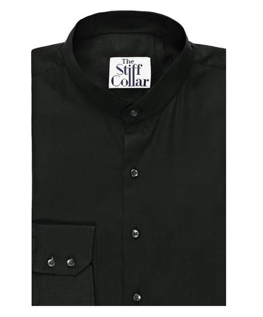 Black Mandarin collar shirt for men