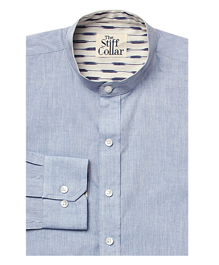 Blue Chambray Ikkat Nehru Collar Shirt