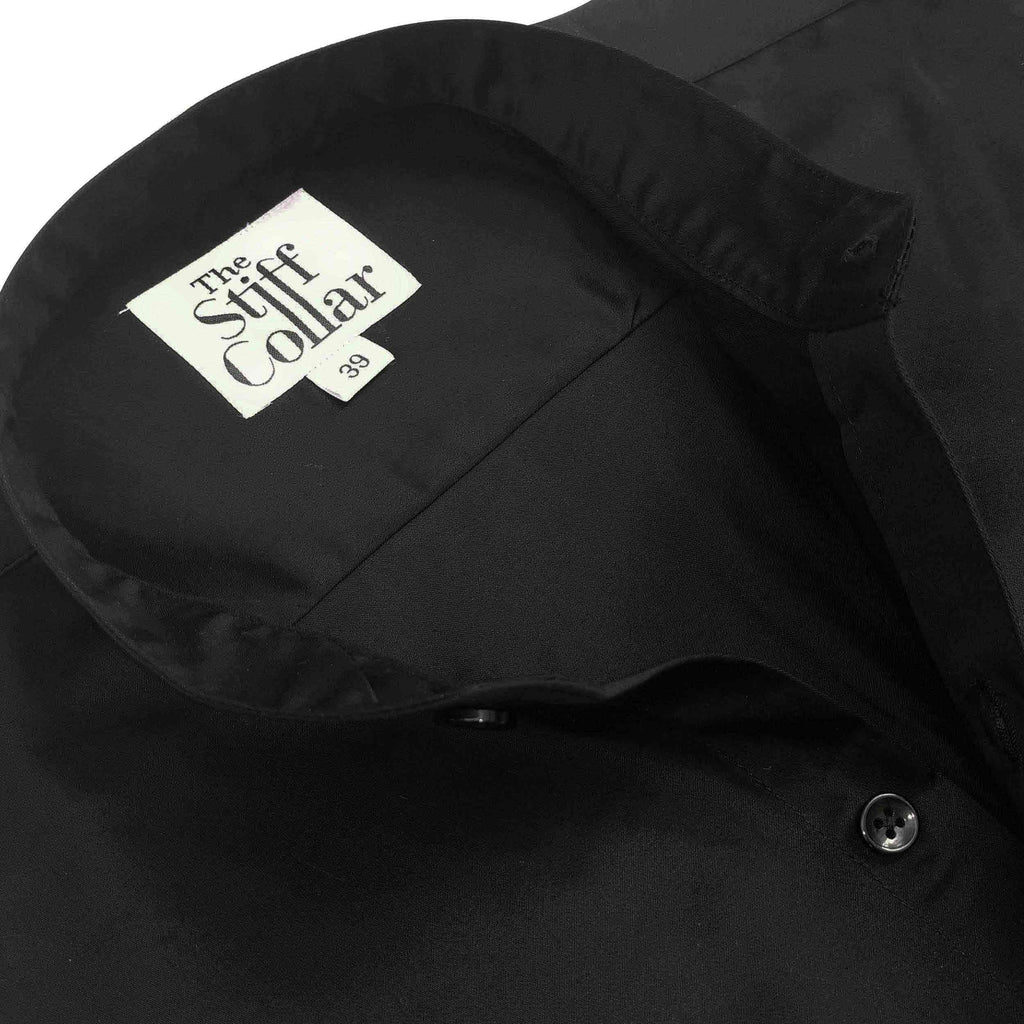 Black Satin Mandarin Collar Regular Fit Shirt
