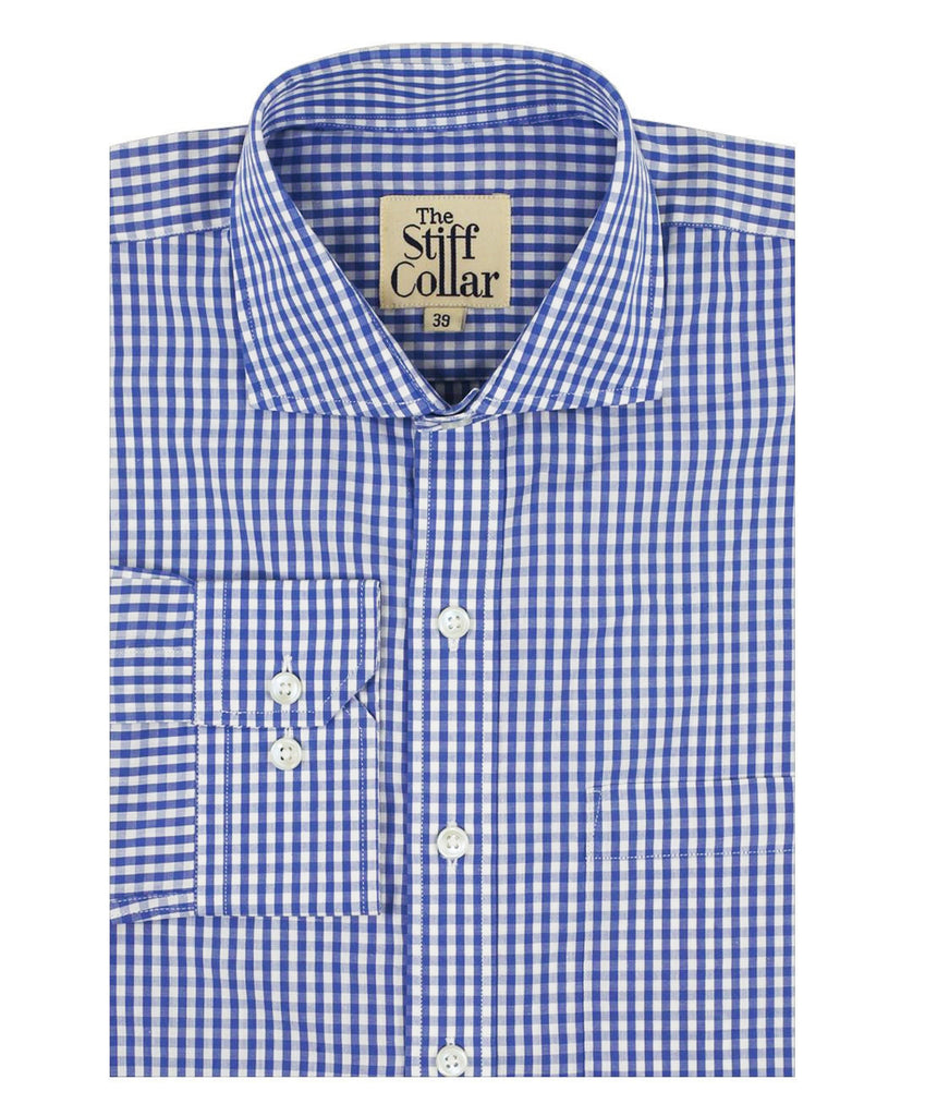Blue Gingham Regular Fit Cotton Shirt