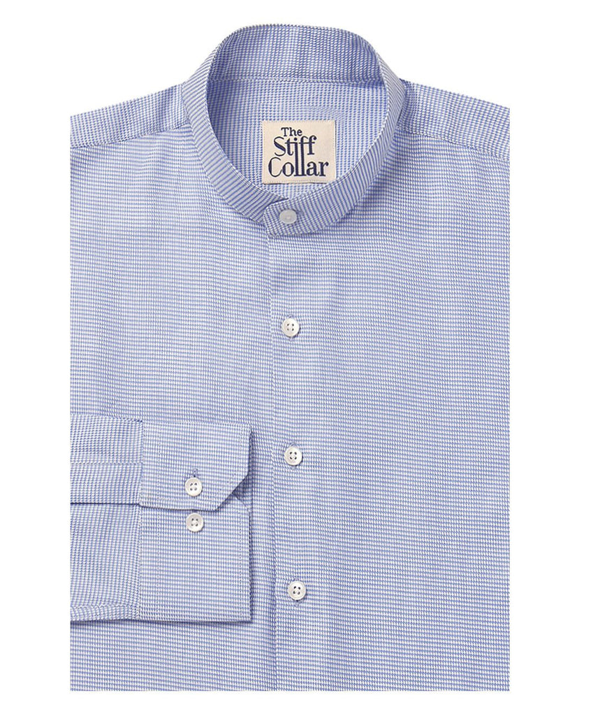 Blue Houndstooth 2 Ply Mandarin Shirt