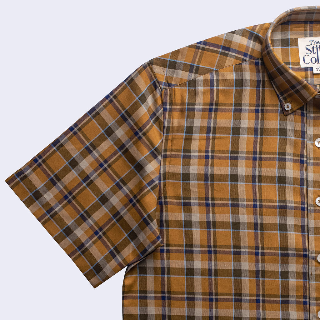 Mustard Tartan Checks Button Down Half Sleeves Shirt