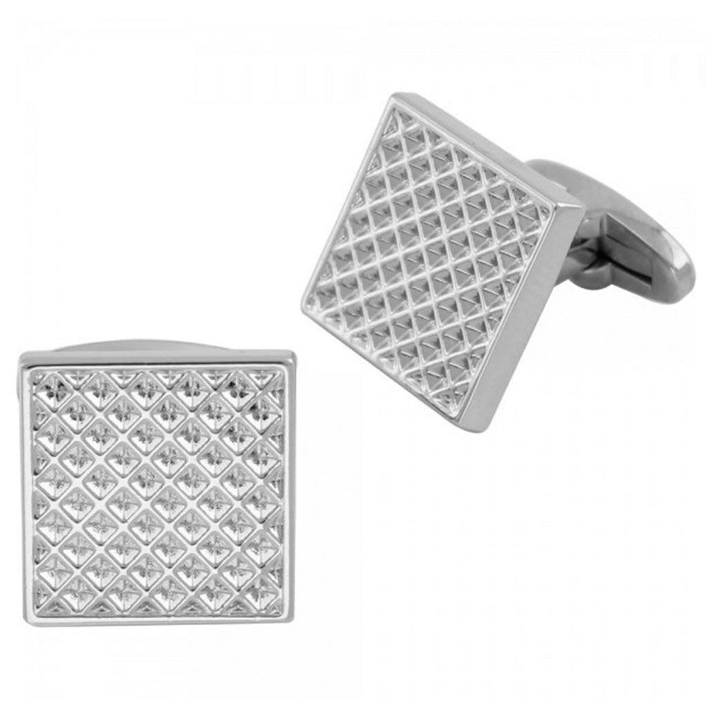 Silver Plated Square Molded Cuff Link Collar Stays