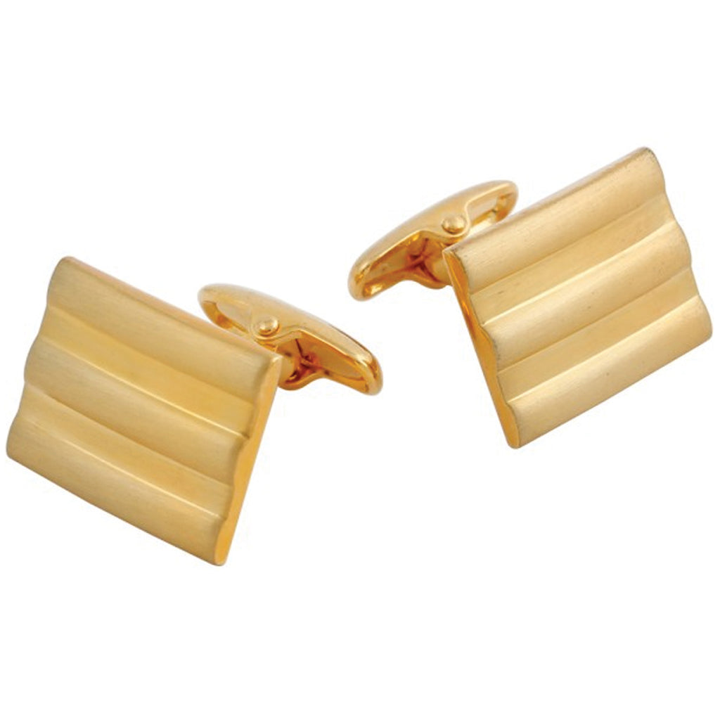 Gold Plated Rectangular Lined Cufflinks