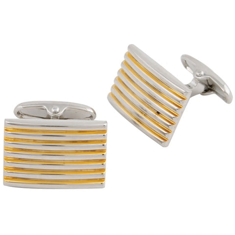 Silver Plated Square Diagonal Lined Cufflinks