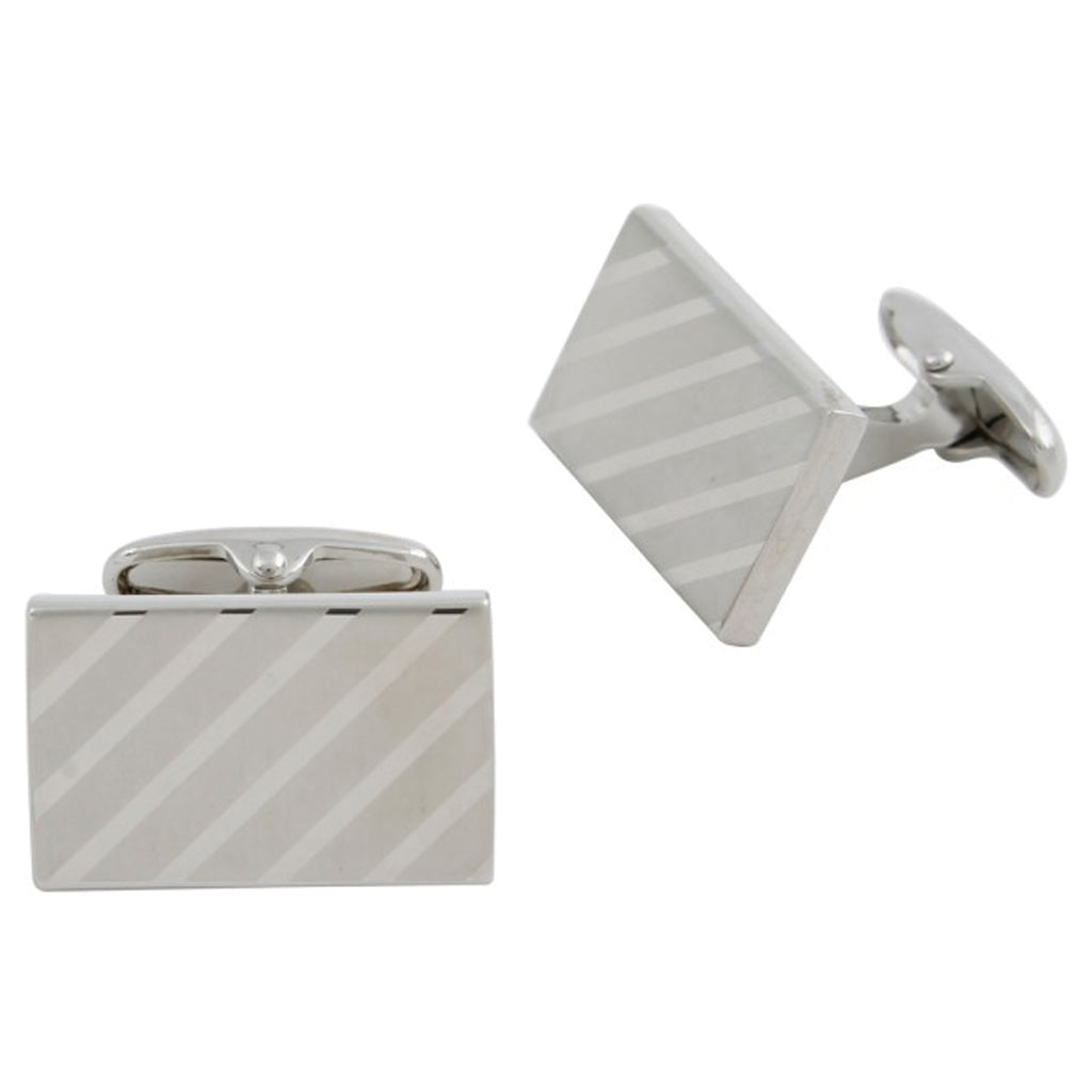 Silver Plated Rectangular Diagonal Lined Cufflinks