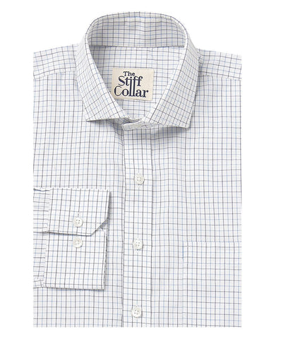 White Herringbone and Blue Oxford Cotton Shirt Combo