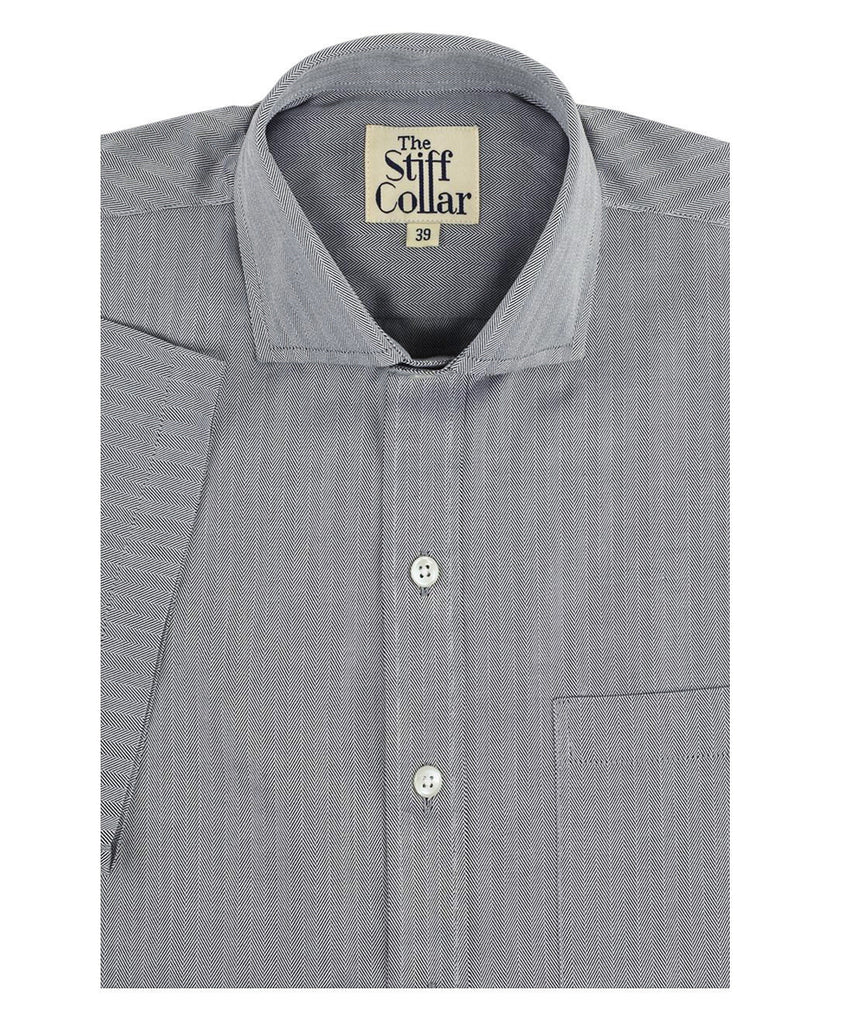Grey Herringbone 2 Ply Cotton Half Sleeves Shirt