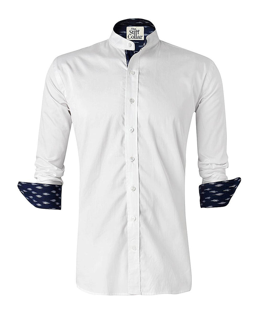 White Satin Ikkat Nehru Collar Shirt