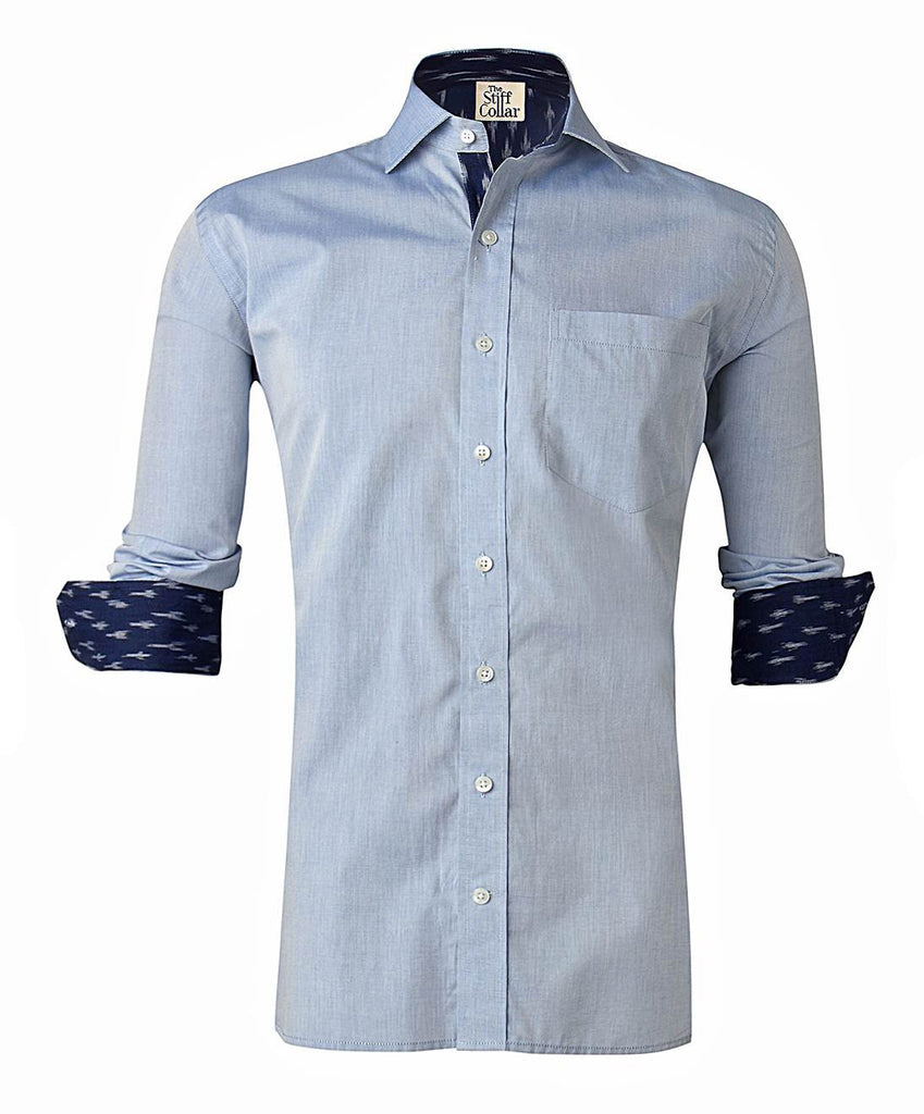 Blue Chambray Ikkat Regular Fit Cotton Shirt