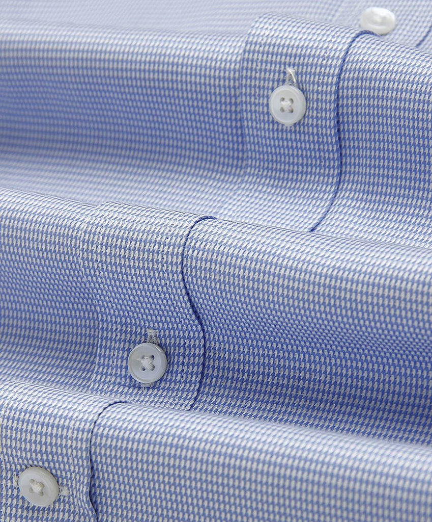 Blue Houndstooth 2 Ply Cotton Half Sleeve Shirt