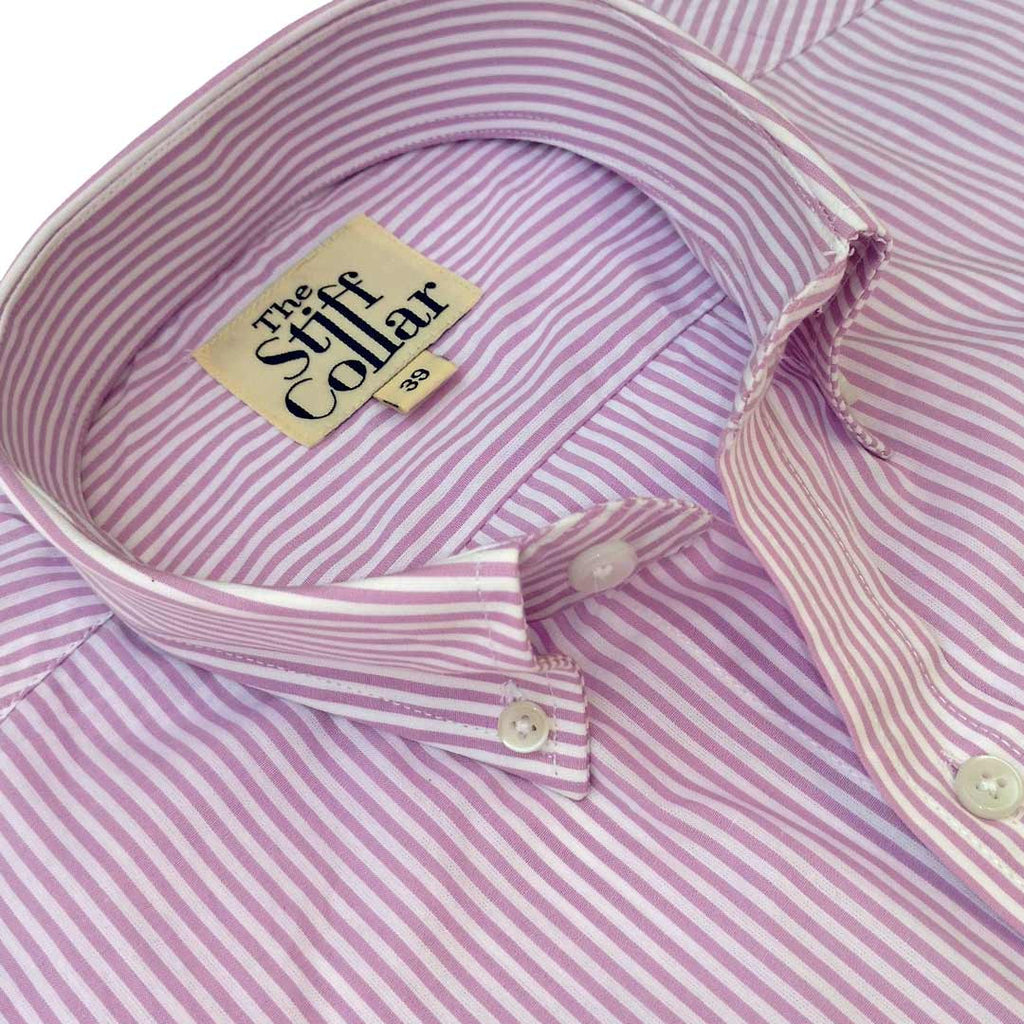 Lavender Pencil Stripes Regular Fit Button Down Shirt