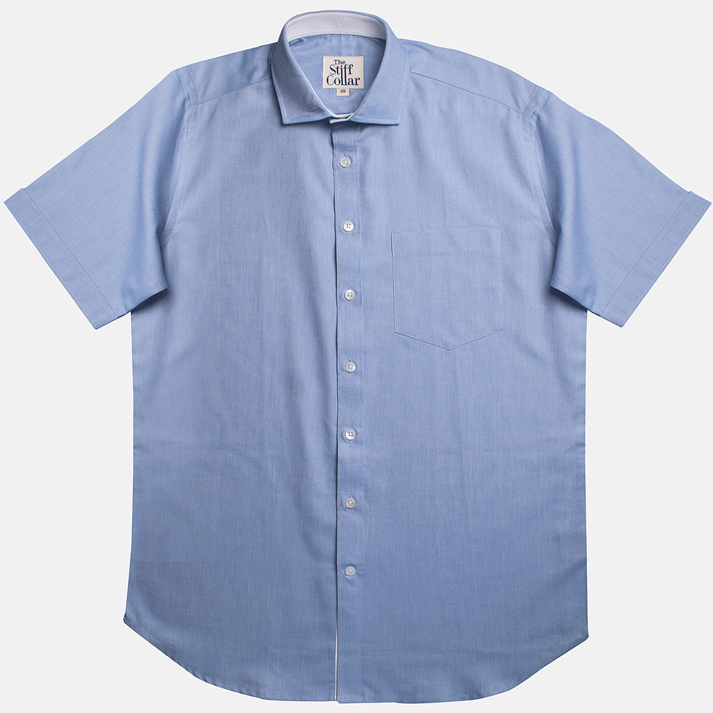 Kutch Blue Oxford with White Lining Half Sleeve Shirt
