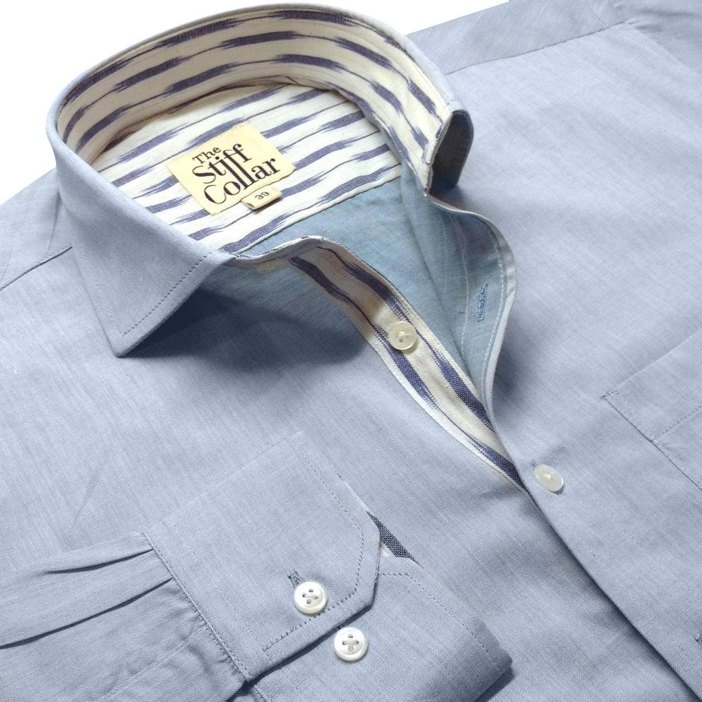 blue ethnic cotton shirt