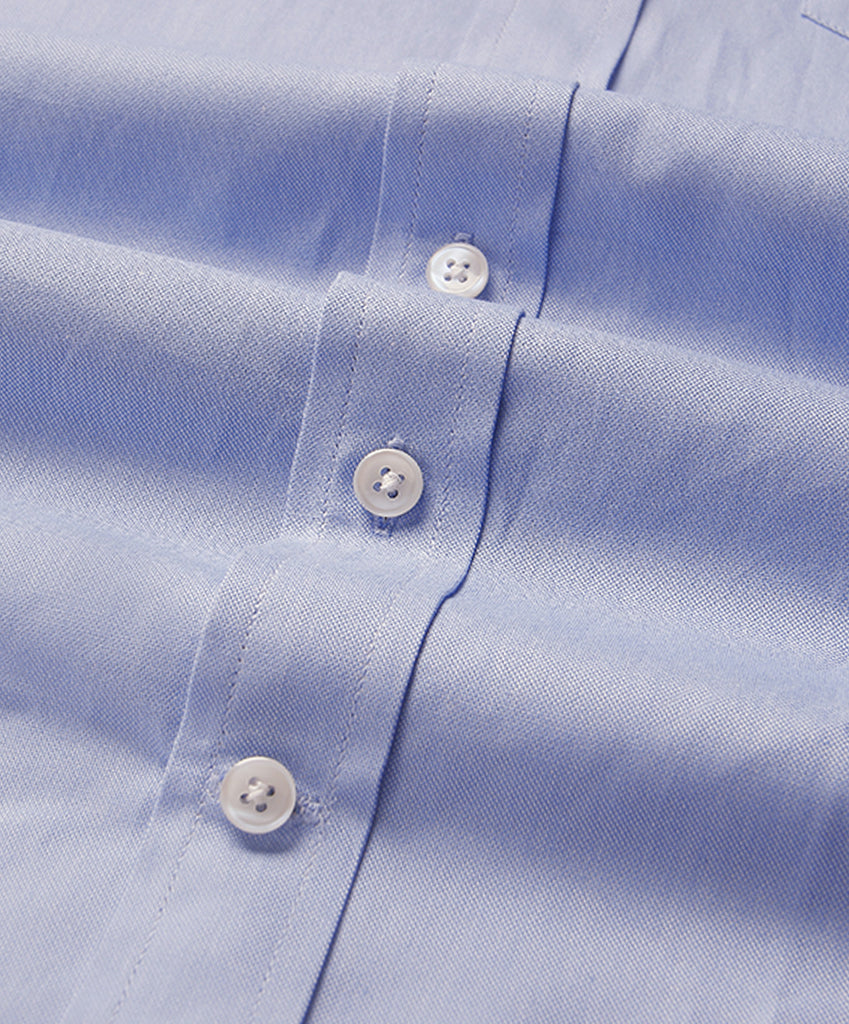 Blue Oxford Half Sleeves Cotton Shirt