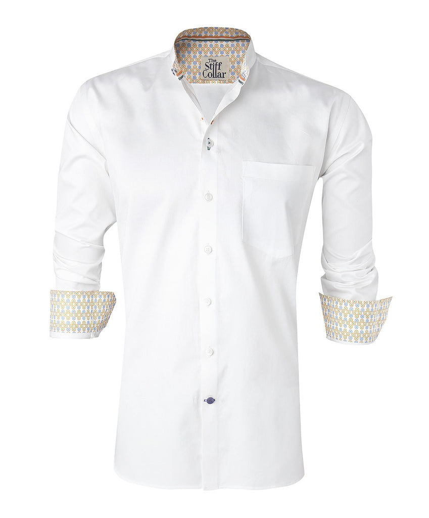 India Formal White Satin Mandarin Collar Cotton Shirt