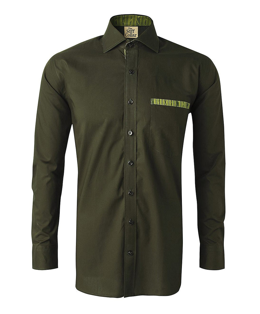 Olive Green Poplin Ikkat Cotton Shirt