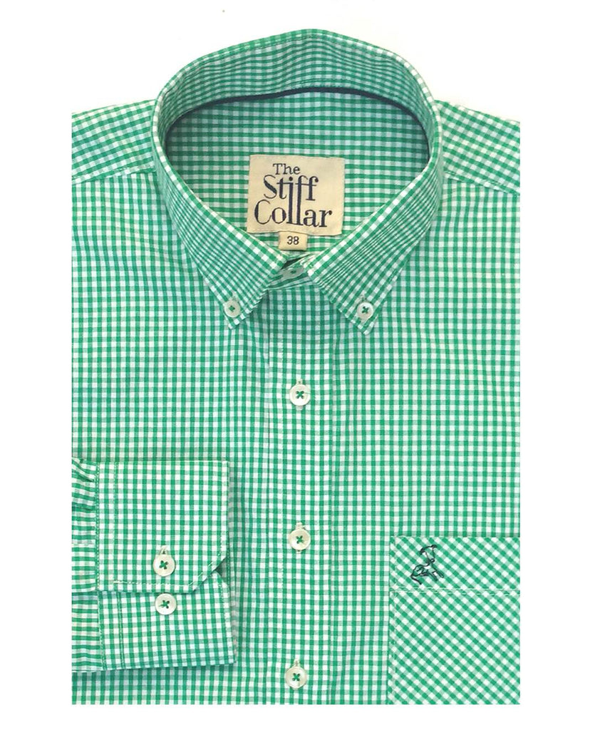 Bottle Green Gingham Button Down Polo Shirt