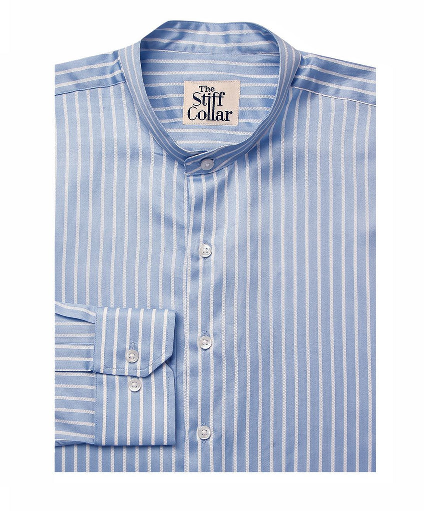 White on Blue Cotton Mandarin Shirt